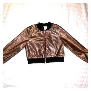 Other - Kids metallic rose gold cropped jacket NWOT